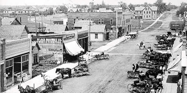 Business District, early 1900's, Milaca, Minnesota